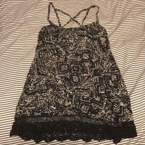 Grey Tank Top with Lace Bottom